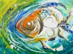 Impressionism Oil Paintings - Monet Fish Two. Rainy Day Fish. by J Vincent Scarpace