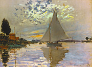 Gennevilliers Framed Prints - Monet: Sailboat Framed Print by Granger
