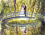 Bride And Groom Paintings - Monet Wedding by Clara Sue Beym