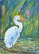 Wa Paintings - Monets Egret by Genevie Henderson