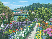 Peony Art Posters - Monets Garden Giverny Poster by Richard Harpum