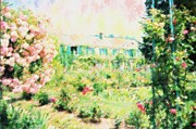 Building Mixed Media Originals - Monets Home At Giverny by Florene Welebny