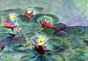 Aquas Prints - Monets Lilies on Pond Print by Jamie Frier