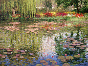 Lily Pond Paintings - Monets Lily Pond In Giverny by Roelof Rossouw