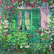House With Garden Framed Prints - Monets Window Framed Print by L Diane Johnson