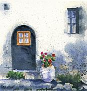 Greece Painting Originals - Monevasia Doorway by Marsha Elliott