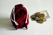 Tender Tapestries - Textiles Prints - Money bag coins and currency notes Print by Sudarshan Vijayaraghavan