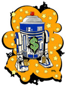Spray Paint Painting Originals - Money Makin Drobot - Series One by Keith QbNyc