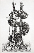 Fine Art Drawing Originals - Money Monument by James Williamson