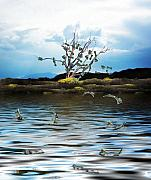 Lake Mixed Media Metal Prints - Money Tree on a Windy Day Metal Print by Gravityx Designs
