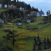 J R Baldini Prints - Monhegan View from Lighthouse Hill Print by J R Baldini