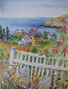 Old Houses Painting Posters - Monhegan Village Poster by Cori Caputo