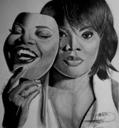 African American Art Drawings Posters - MoNique Drawing Poster by Keeyonardo