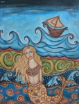 Boat Pastels Metal Prints - Monique Mermaid Metal Print by Rain Ririn