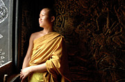 Buddhist Monk Photos - Monk Alex Laos by Bob Christopher