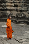 Buddhist Monk Framed Prints - Monk At Ankor Wat Framed Print by Bob Christopher