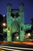 Cross-bar Framed Prints - Monk Bar Gate Lit At Night In England Framed Print by Richard Nowitz
