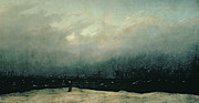 Berlin Germany Prints - Monk by sea Print by Caspar David Friedrich
