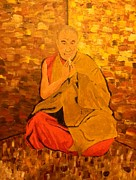 Buddhist Monk Paintings - Monk in Meditation by Gilbert Bernhardt