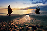 Huahin Prints - Monk Walk For Food On The Beach Print by Arthit Somsakul