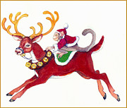 Monkey Paintings - Monkey and Reindeer  by Peggy Wilson