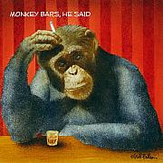 Happy Hour Framed Prints - Monkey Bars He Said... Framed Print by Will Bullas