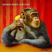 Happy Hour Prints - Monkey bars she said... Print by Will Bullas