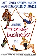 Films By Howard Hawks Framed Prints - Monkey Business, Cary Grant, Ginger Framed Print by Everett