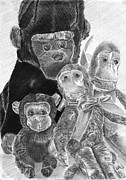 Monkeys Drawings - Monkey Business by Natalie McKenzie