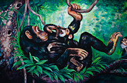 Bangkok Paintings - Monkey painting by Shattha Pilabut