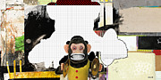 Mixed Media Collage Posters - Monkey See Monkey Do Poster by Michel  Keck