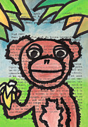 Banana Drawings Posters - Monkey With A Banana Poster by Jera Sky