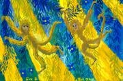 Blue And Gold Paintings - Monkeys and sunbeams by Sushila Burgess