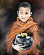 Buddhist Pastels - Monkhood II - Morning Alm by Vongduane Manivong