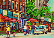 Store Fronts Framed Prints - Monkland Tavern Corner Old Orchard Montreal Street Scene Painting Framed Print by Carole Spandau