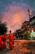 Bangkok Paintings - Monks at Dusk by Stefan Olivier