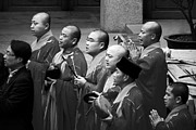 Religious Photo Originals - Monks chanting - Jingan Temple Shanghai by Christine Till