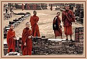 Monks Of Ayutthaya Print by Linda  Parker