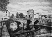 Shops Drawings Prints - Monnow Bridge Print by Andrew Read