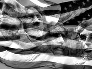 Usa Flag Prints - Mono Fathers Print by Tingy Wende