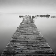 Old Wood Posters - Mono Jetty With Sandals Poster by Billy Currie Photography