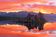 Fiery Posters - Mono Lake Fiery Sunset Poster by Adam Jewell