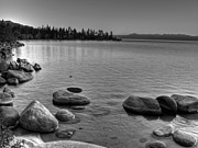 Lake Framed Prints - Monochrome Lake Tahoe Sunset Framed Print by Scott McGuire