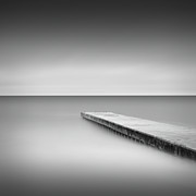Northumberland Prints - Monochrome Long Exposure Jetty, Blyth Uk Print by Paul Simon Wheeler Photography