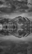 Andy Astbury Posters - Monochrome Mountain Reflection Poster by Andy Astbury