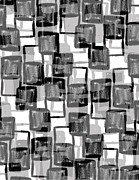 Squares. Linear Metal Prints - Monochrome Squares Metal Print by Louisa Knight