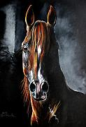 Horse Pastels Metal Prints - Monogramm Metal Print by Angel  Tarantella