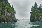 Kenai Framed Prints - Monoliths In Aialik Cape On A Foggy Framed Print by James Forte
