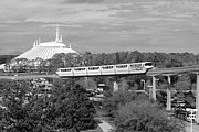 Magic Kingdom Framed Prints - Monorail and Space Mountain Magic Kingdom Walt Disney World Prints Black and White Framed Print by Shawn OBrien