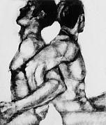 Nude Men Wrestling Art - Monotype Series 21 by John Clum